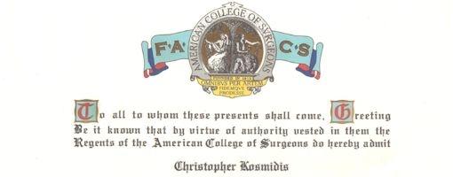 Αποδοχή του Αν. Καθηγητή Χριστόφορου Κοσμίδη ως τακτικού μέλους του Κολλεγίου Αμερικανών Χειρουργών